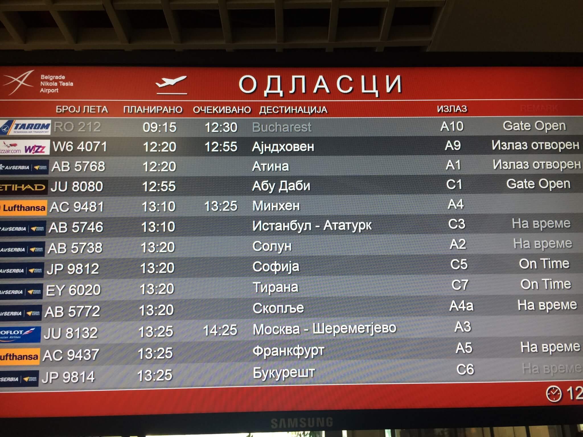 Flights from Beograd airport