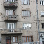 Building hit by bullets (Sarajevo)