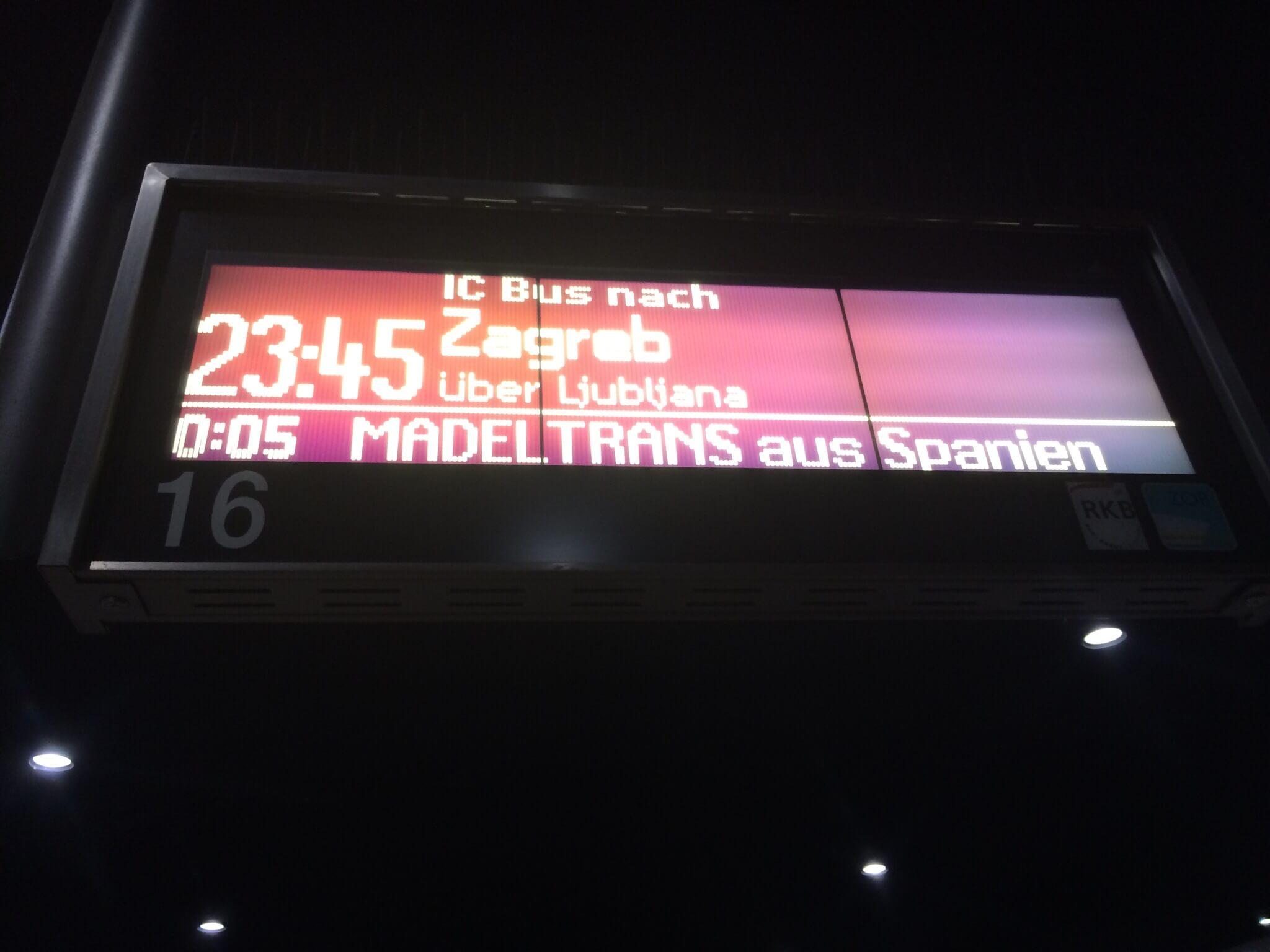 Bus to Zagreb, München