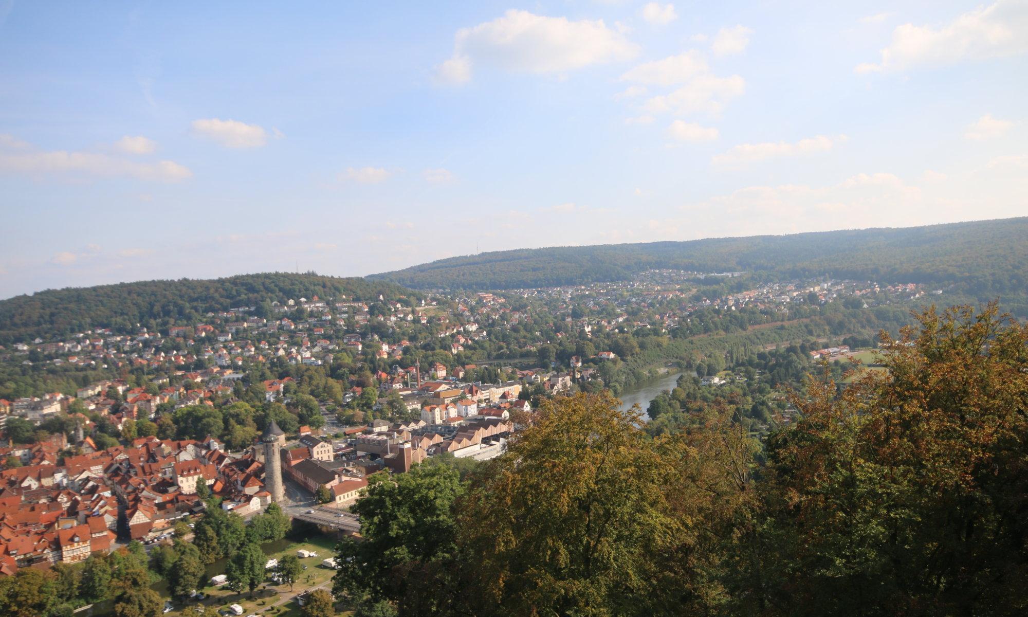 View on Kattenbühl from Tillyschanze tower, Hann. Münden