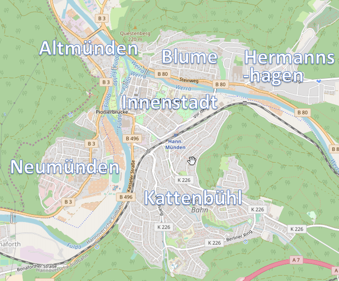 City quarters of Hann. Münden (map by OpenStreetMap, CC-BY-SA 2.0)