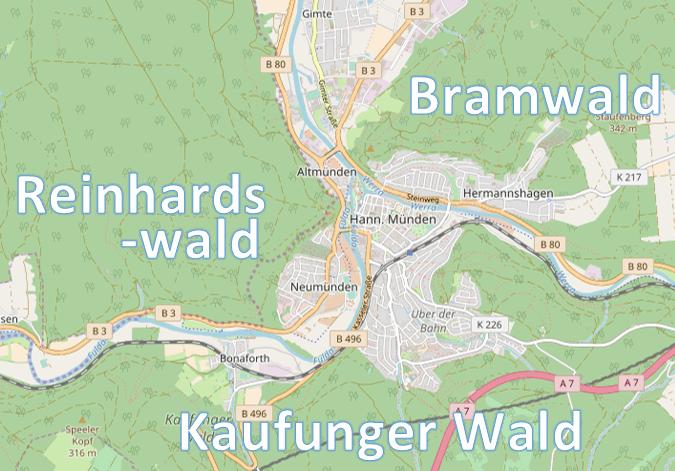 Kaufunger Wald, Reinhardswald & Bramwald (map by OpenStreetMap, CC-BY-SA 2.0)