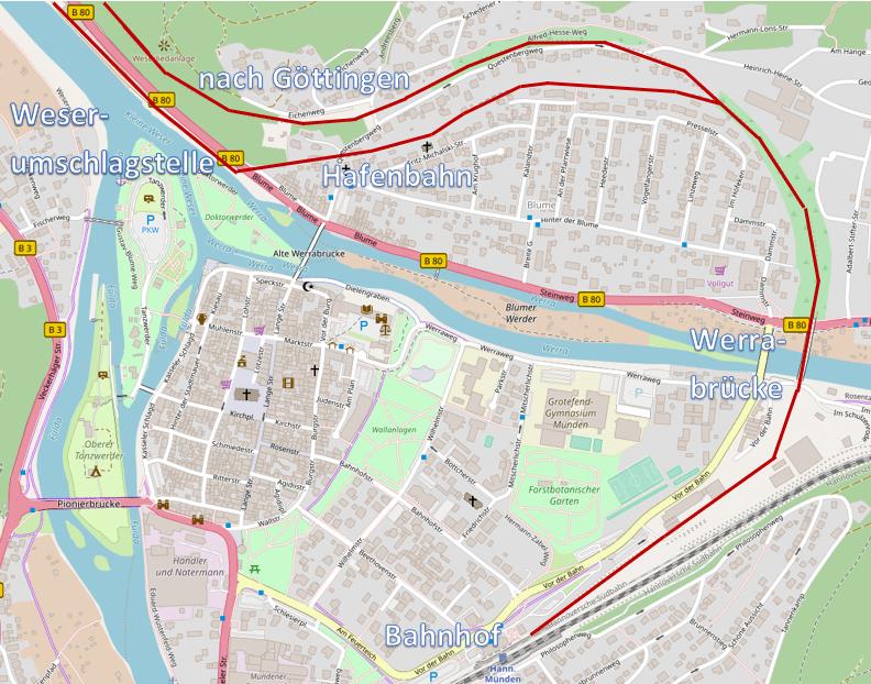 Hannöversche Südbahn at Hann. Münden (map by OpenStreetMap, CC-BY-SA 2.0)