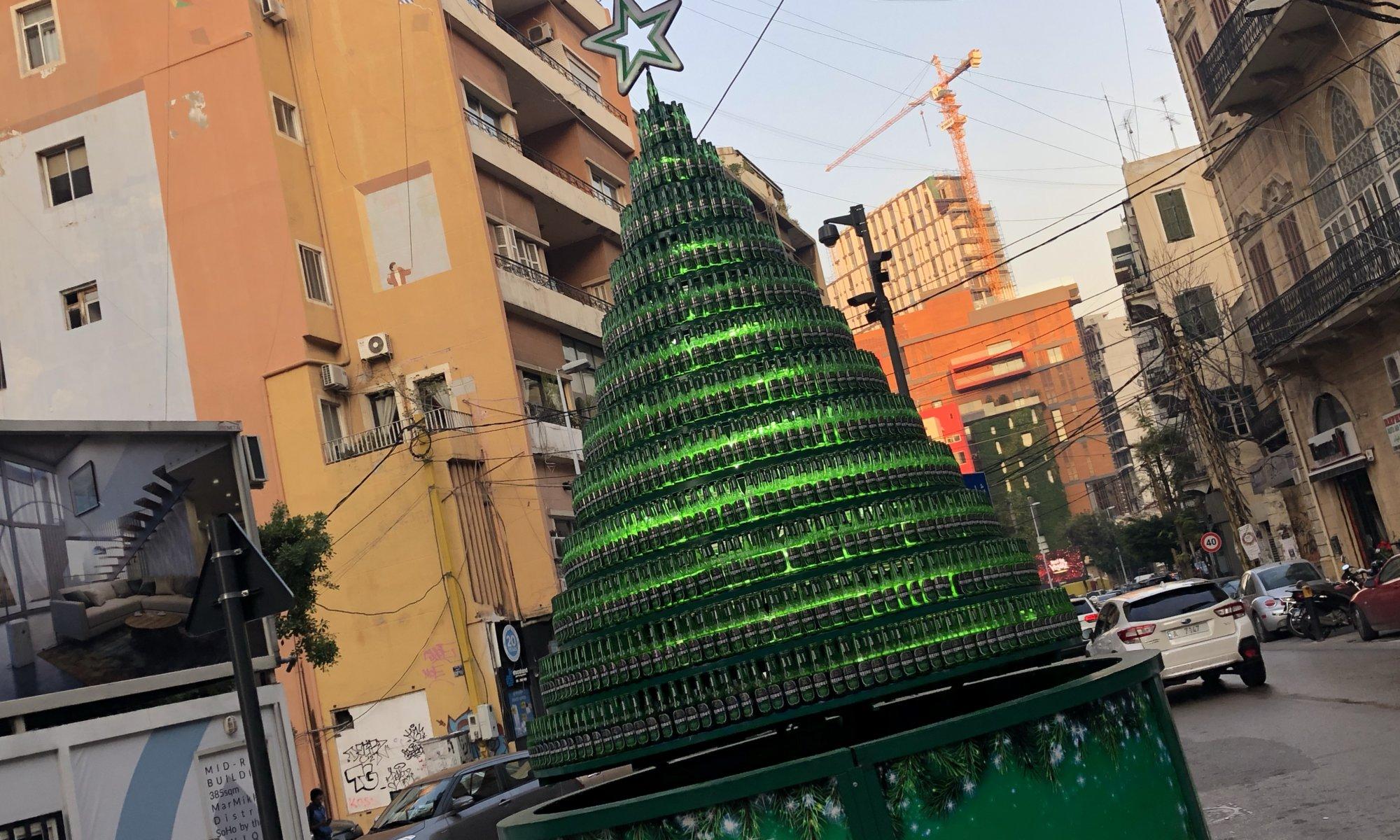 Beer Christmas tree, Armenian quarter, بيروت