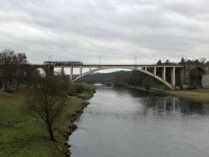 Railway bridge over river Fulda, Guntershausen, Baunatal