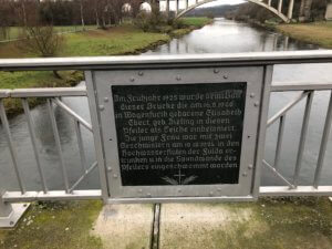 Memorial on bridge over river Fulda, Guntershausen, Baunatal
