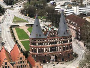 Holstentor seen from St. Petri, Lübeck