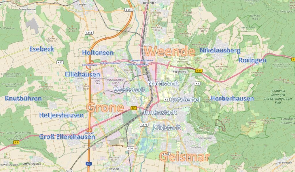 City quarters of Göttingen (map by OpenStreetMap, CC-BY-SA 2.0)