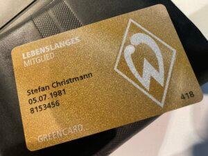 Lebenslang Grün-Weiß, lifelong membership card, SV Werder Bremen