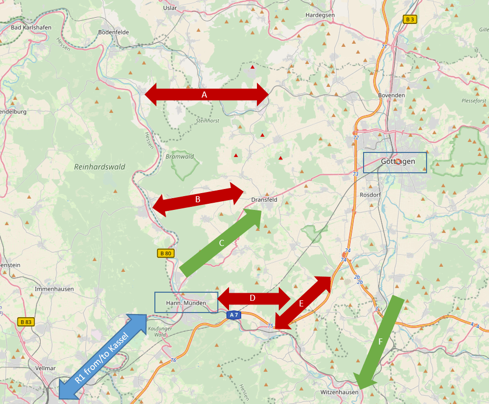 Best mountain passes from and to Göttingen (map by OpenStreetMap, CC-BY-SA 2.0)